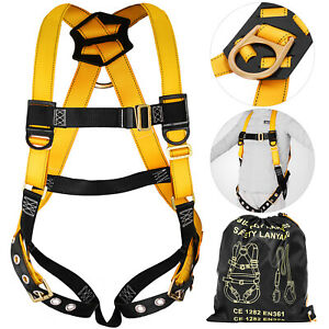 Construction Harness Universal Full Body W 3 D ring Roofers 5 point Adjustable