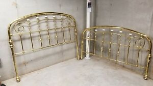Vintage Queen Solid Polished Brass Bed And Cast Iron Frame Excellent Condition