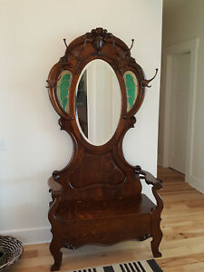 American Antique Hall Tree C A 1890 1900 Solid Quarter Sawn Oak All Orginal