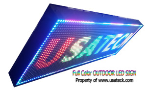 Led Sign 13 x 37 Metal Outdoor Full Color Wifi Programmable made In Usa