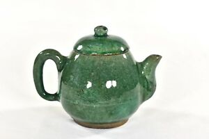 Antique Chinese Ceramic Pottery Green Teapot Qing Dynasty 19th C
