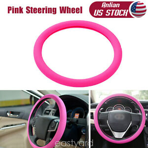 Car Steering Wheel Cover Pink 14 15 Silicone Stretch Elastic Adjustable Us