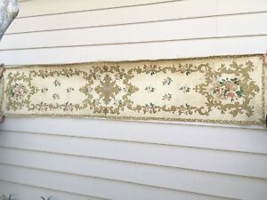 Large Antique Silk Brocade Church Altar Frontal Or Runner 18th C French 8 3 Ft