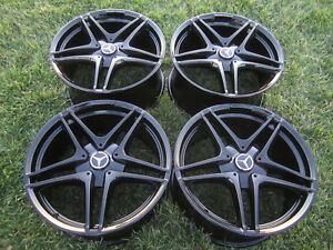 19 C63 Amg Wheels Rims Oem Rare Set Black Mercedes C350 C300 C400 C43