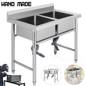39 x23 5 Two Compartment stainless Steel Sink Hospital Cafe Shop Wash Table