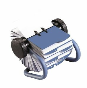 Rolodex Open Rotary Business Card File Blue 200 Card stand Free 2 Day Ship