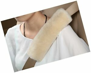 U M Authentic Sheepskin Auto Seat Belt Cover Shoulder Seatbelt Pad For Adults