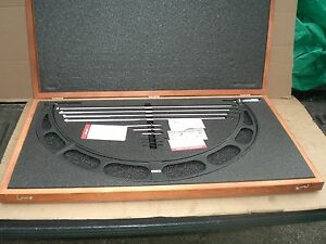 Starrett 224m Micrometer Set 500 600m Range With Wood Case New