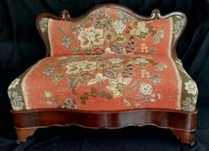 American Empire Bustle Bench Sofa Fireside Settee Flame Mahogany C1830