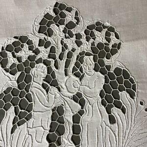 Antique Whitework Figural Embroidery Adam And Eve Show Towel 18 X 34