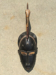 Large Antique Carved African Mask W Bird Eating Fish Crest