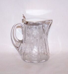 Cut Glass Syrup Pitcher Floral Pattern Sterling Silver Lid Wreath Sterling Mark
