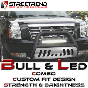For 03 08 Honda Pilot ridgeline Matte Blk Bull Bar Guard skid 120w Cree Led Lamp