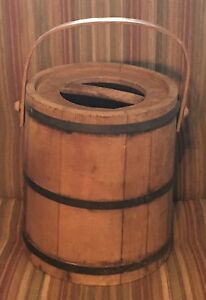 Vintage Wooden Covered Bucket Pail