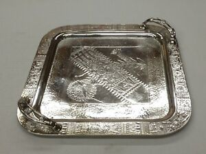 Vintage Meriden B Company Quadruple Plate Tray With Handles 12 X 12