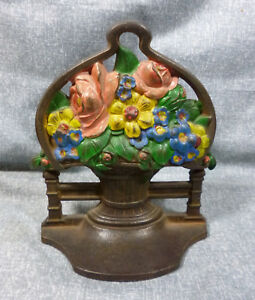Antique Daisies Roses Cast Iron Book End