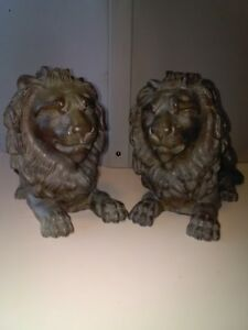 Handsome Pair Of Architectural Antique Resting Brass Lions Rare Find