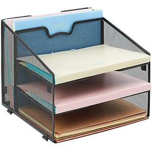 Drawer Organizers Mesh Desktop File With 3 Letter Trays And 1 Vertical Sections