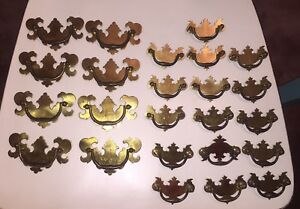 24 Vintage Chippendale Batwing Brass Drawer Pulls