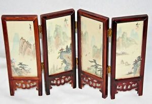 Vtg Miniature Japanese Paintings On Silk Under Glass On 4 Panel Screen 8 Total