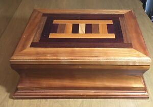 14 Jewelry Trinket Box Hand Made Inlayed With Multiple Wood Types