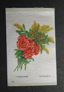 Vintage Tobacco Cigarette Silk Use In Crazy Quilt Flowers Carnations