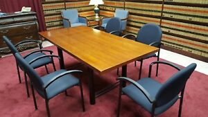 National Kimball Conference Table With 5 Bola Fabric Chairs