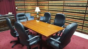 Conference Table Cherry Wood Veneer With 6 High Back Leather Chairs
