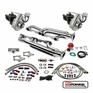 T04 63ar 500 Hp 12pc Twin Turbo Charger Manifold Kit For Chevy Small Block Sbc