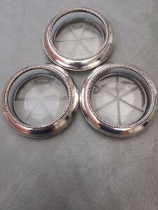 Vintage Sterling Silver And Glass Coasters By Frank M Whiting And Company
