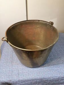 Antique Brass Bucket Kettle Pail W Wrought Iron Handle Signature Worn Off