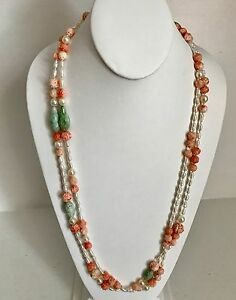 Exquisite 60 Custom Necklace Old Chinese Carved Coral Jade Beads Pearls