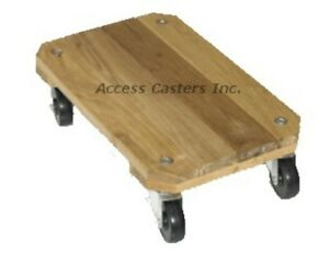 Dh173412 17 3 4 X 12 Wood Furniture Dolly 3 Rubber Casters 250 Lbs Capacity