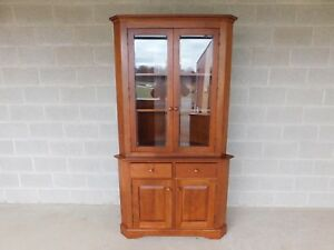 Hunt Country Cherry Chippendale Traditional Style 2pc Corner China Cabinet B