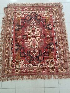 Antique Wall Rug Caucasian Pattern Tapestry Bed Cover Mokett Moquette Textile