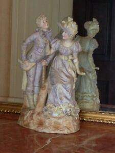 Antique Large German Bisque Porcelain China Pair Figurines Marked