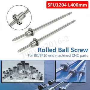 2 Set Sfu1204 400mm Rolled Ball Screw With Ballnut For Bk bf10 End Machined Cnc