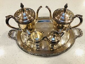 F B Rogers Silver Co Silver On Copper 5 Pc Coffee Tea Service Set Vintage