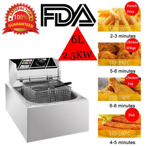 2500w Electric Fryer Deep Pan Kitchen Frying Basket Commercial Tabletop Home 6l
