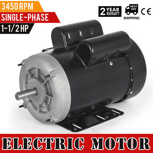 Electric Motor 1 1 2 Hp Single phase 3450rpm Tefc 5 8 Shaft Heavy duty Enclosed