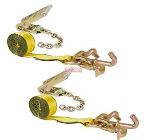 2 Pack 2 Chain Ratchet Straps W Rtj Tie Down Roll Back Tow Truck Car Hauler