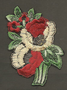 Vintage Antique Early 1900s Woven Silk Applique Use In Crazy Quilt Red Flowers