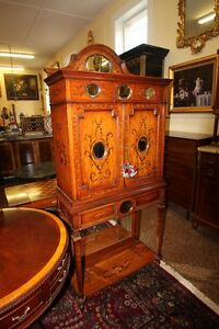 Satinwood Adams Paint Decorated Mirrored China Collectors Display Cabinet C1920