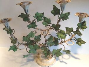 Chippy Vintage Italian Tole Sconce Candle Holder Trailing English Ivy Look