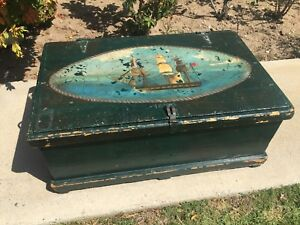 Antique Sailor Wooden Trunk Chest With Sailboat Ship Painting On Top Circa 1890
