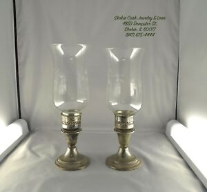 Pair Of Gorham Sterling Silver Candle Stick Holders With Hurricane Lamps