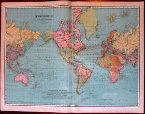 World Emphasizing Telegraph Lines Ocean Currents 1902 Huge Rand Mcnally Map