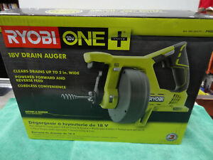 Ryobi 18v Drain Auger 25 Ft Reinforced Cable Auto feed Lock tool Only P4001