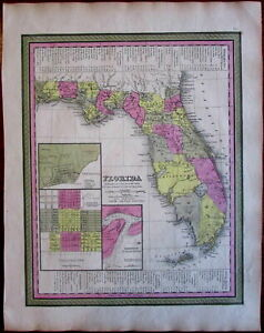 Florida State Pensacola Tallahassee St Augustine 1846 9 Mitchell Burroughs Map