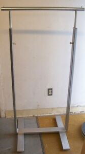 Store Display Fixtures 2 Brushed Stainless Straight Rod Clothing Garment Racks